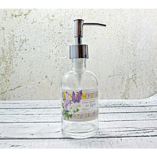 glass soap dispenser with vintage French lilac soap label, spring decor - One Burch Way