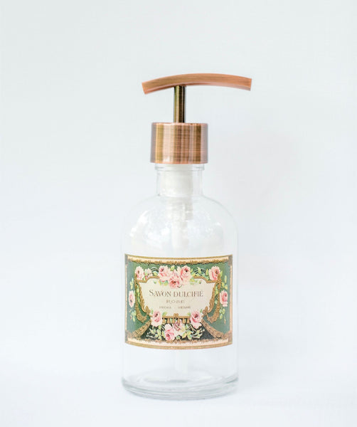 shabby chic french soap dispenser, clear glass soap dispenser with vintage french soap label, one burch way