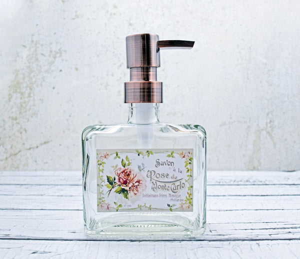 glass soap dispenser with shabby chic roses on copy of vintage French soap label, shabby chic soap dispenser, cottage decor for bathroom, one burch way