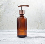 8 ounce amber glass soap dispenser, lotion dispenser -One Burch Way