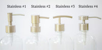 4 stainless soap dispenser pump styles, one burch way