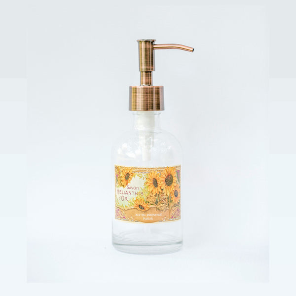 sunflower soap dispenser, clear glass soap dispenser with vintage french soap label, one burch way
