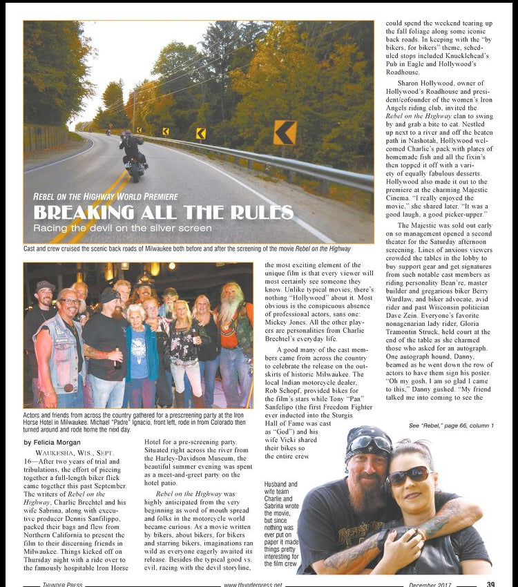 Thunder Press Article - Rebel on the Highway Movie