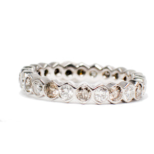 Ring 14 Karat White Gold Champagne and White Diamond Channel Band