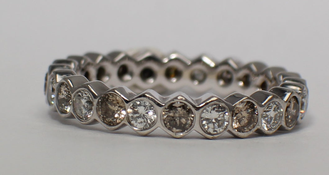 14 Karat White Gold Champagne and White Diamond Channel Band
