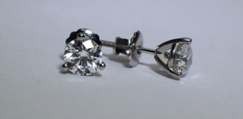 14 K White Gold Diamond Stud Earrings