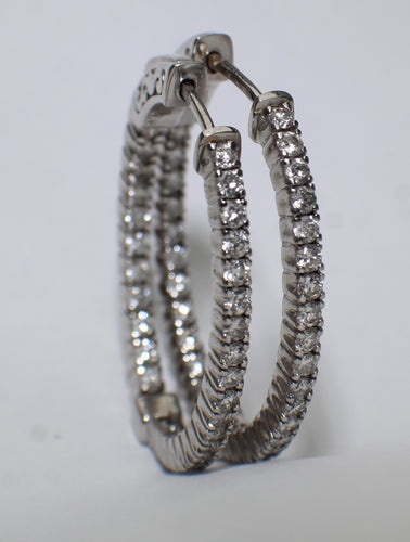 14 Karat White Gold Brilliant Diamond Earrings