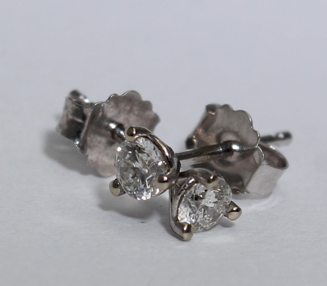 14 Karat White Gold Diamond Studs