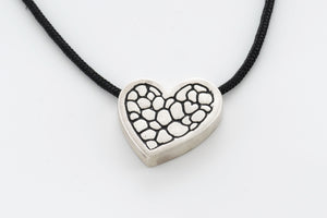 Sterling Silver Heart Asymetrical Pendant Plain