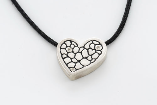 Sterling Silver Heart Asymetrical Pendant with 3 Diamonds