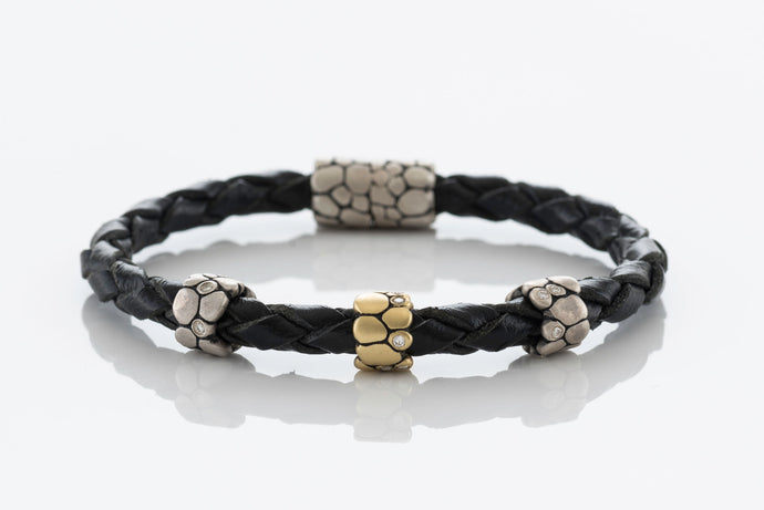 Braided Bracelet with 3 Beads and Diamonds