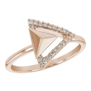 Pyramid & Arrow in Rose Gold Diamond Ring