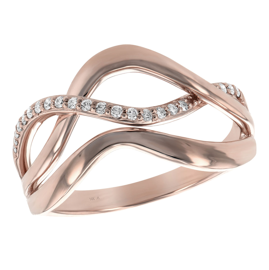 Modern Rose Gold & Diamond Wave Ring