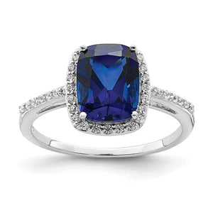 Sterling Silver Rhodium-plated Created Blue Sapphire and CZ Ring