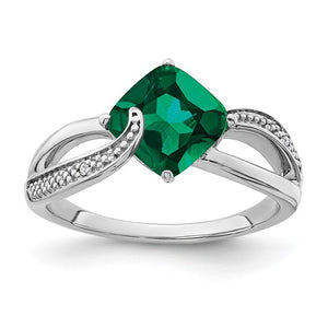 Sterling Silver Created Emerald and Diamond Ring
