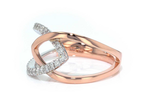 Interconnected Rose Gold Diamond Ring