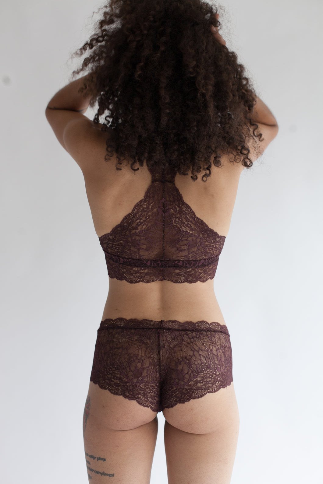Lace Boy Short in Low Rise or High Rise Cut in Sheer Burnt Umber Color