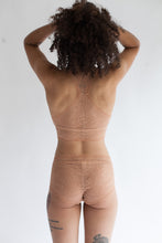 Low Rise Lace Brief in Sheer Fern Print Light Brown Terracotta Color