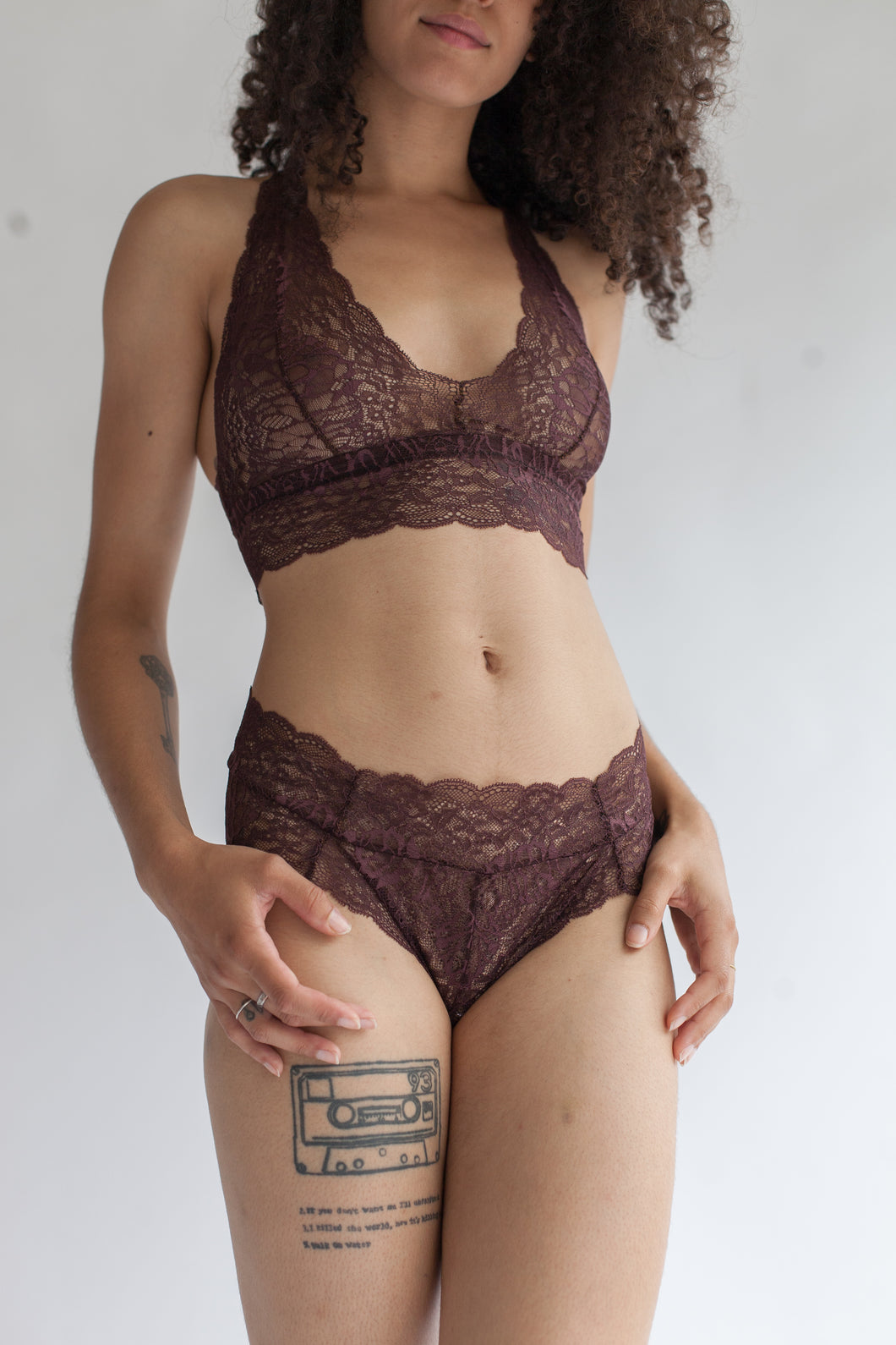 Low Rise Lace Brief in Sheer Floral Burnt Umber Dark Brown Lace