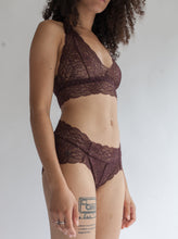 Sheer Bralette with Double Triangle Racerback in Burnt Umber Lace