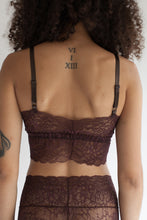 Longline Sweet Heart Spaghetti Strap Lace Bralette in Sheer Burnt Umber Color