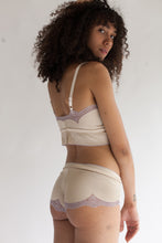 Lace Boy Short in Low Rise or High Rise Cut in two tone colorway (charcoal, lavender cream or white)