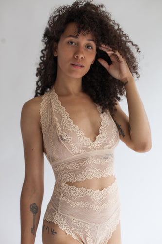 Lace Bralette with Double Triangle Racerback in Sheer Rose Quartz Color