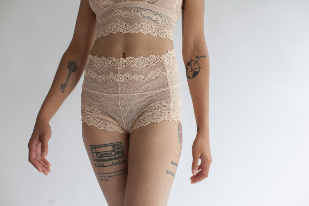Lace Boy Short in Low Rise or High Rise Cut in Sheer Rose Quartz Color