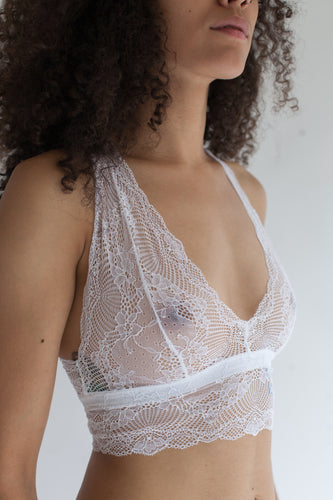 Bralette with Double Triangle Racerback in Sheer Floral White Lace