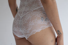 High Waist Lace Panties in Sheer White Floral Color
