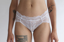 Low Rise Lace Brief in Sheer Abstract White Lace