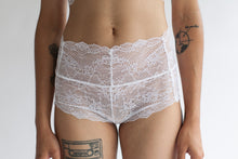 Boy Short in Low Rise or High Rise Cut and Sheer Abstract White Stretch Lace