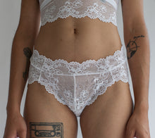 Low Rise Lace Brief in Sheer Floral White Lace