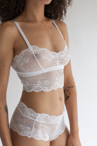 Longline Sweet Heart Spaghetti Strap Lace Bralette in Sheer White Floral Stretch Lace