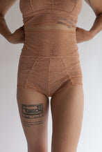 High Waist Hourglass Brief in Light Brown Terracotta Fern print Lace