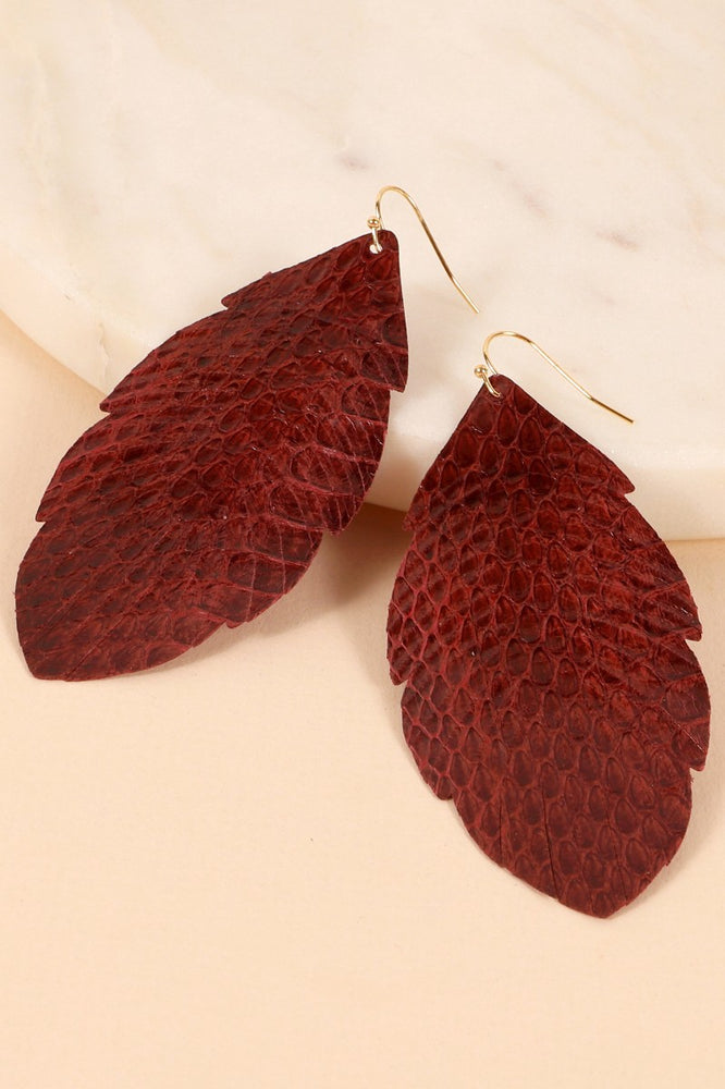 Feather Leather Dangle Earrings