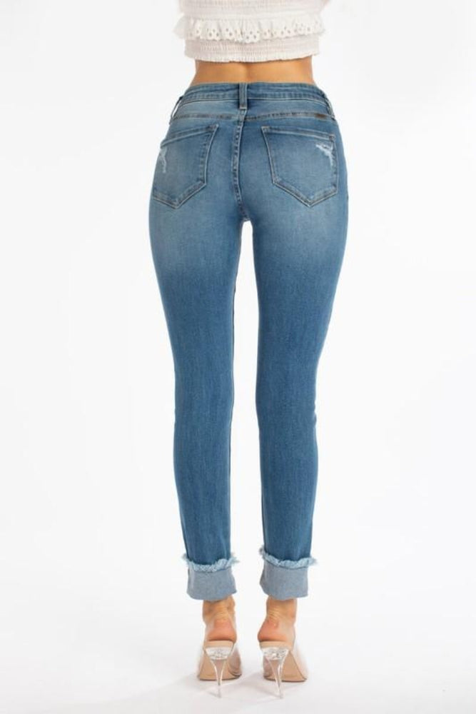 High Rise Ankle Skinny Jeans With Folded Cuff