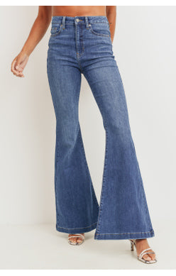 High Rise Bell Bottom Jeans | Medium Denim