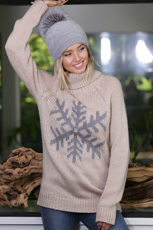 Turtleneck Snowflake Sweater | Mocha