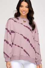 Abstract Long Sleeve Sweatshirt | Misty Mauve