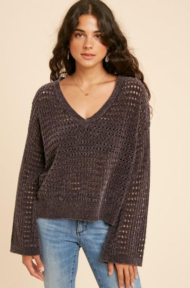 Perforated Chenille Sweater | Charcoal