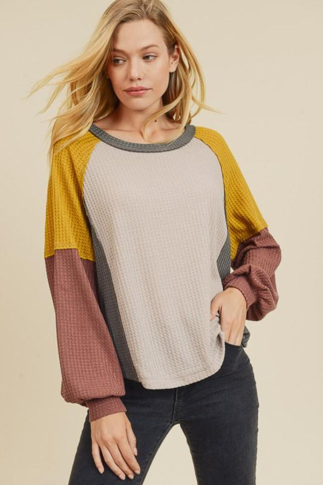 Multi Color Black Waffle Knit Top | Grey