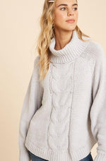 Matte Chenille Cable Turtleneck | Silver
