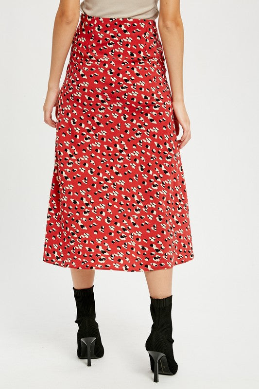 Leopard Midi Skirt | Red