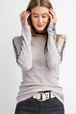 Rib Knit Top With Animal Print Contrast Tape