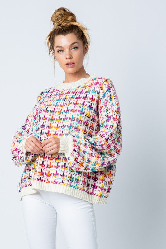Multi Color Tweed Sweater | Rainbow Tweed