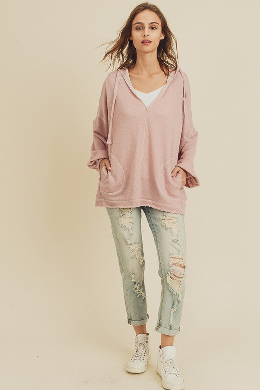 French Terry Pullover Hoodie | Dusty Pink
