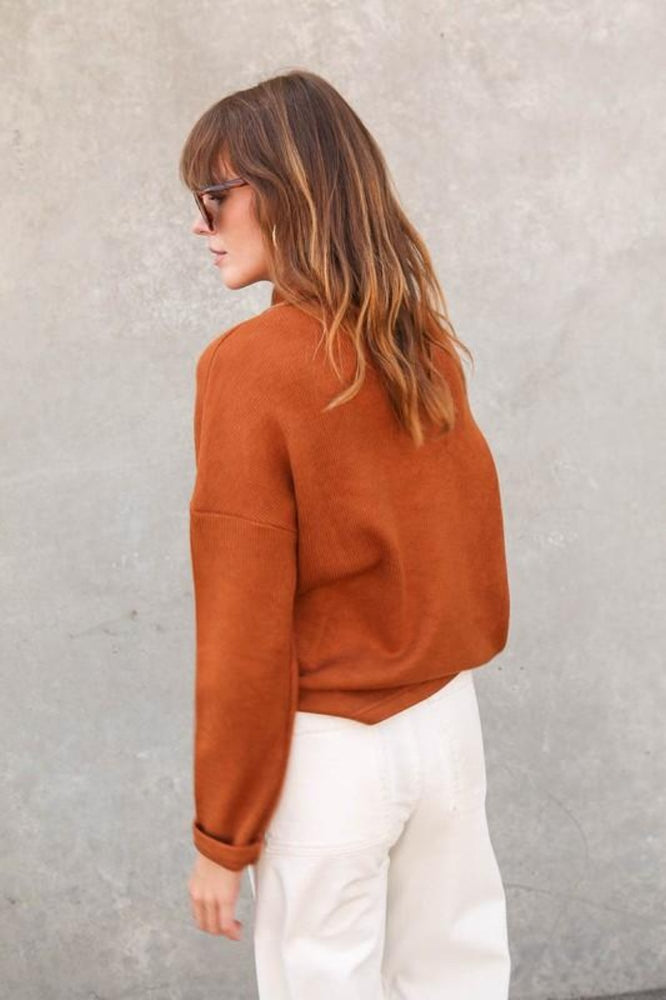 Long Sleeve Mock Neck Sweater | Camel