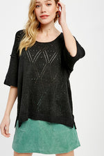 Diamond Pattern Sheer Sweater | Black