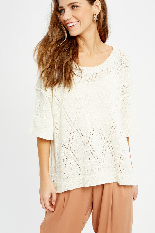 Diamond Pattern Sheer Sweater | Ivory